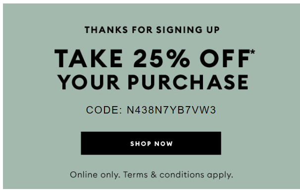 Thanks for signing up email with discount example